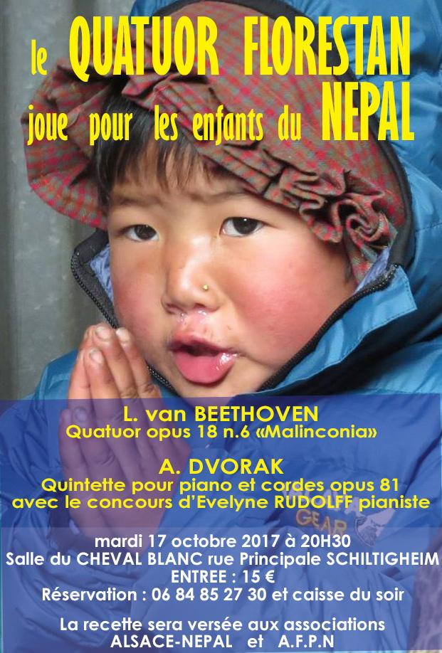 Le Quatuor Florestan joue pour les enfants du Nepal. Mardi 17 octobre 2017. L recette sera versée aux associations ALSACE-NEPAL et A.F.P.N.