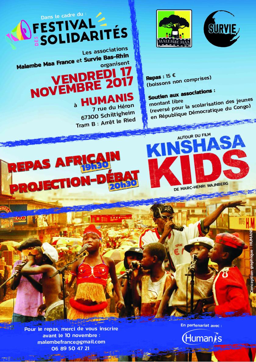 Affiche projection du film Kinshasa Kids à HUMANIS