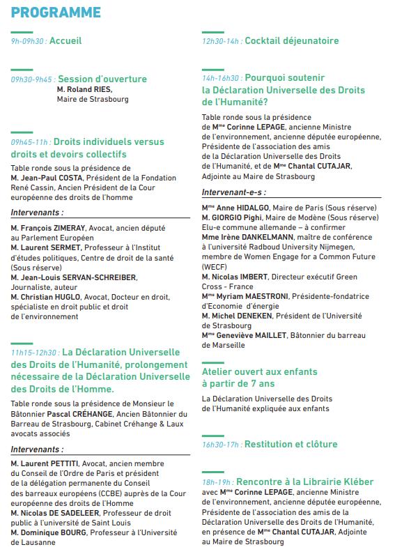 Programme Déclaration droits Humanité