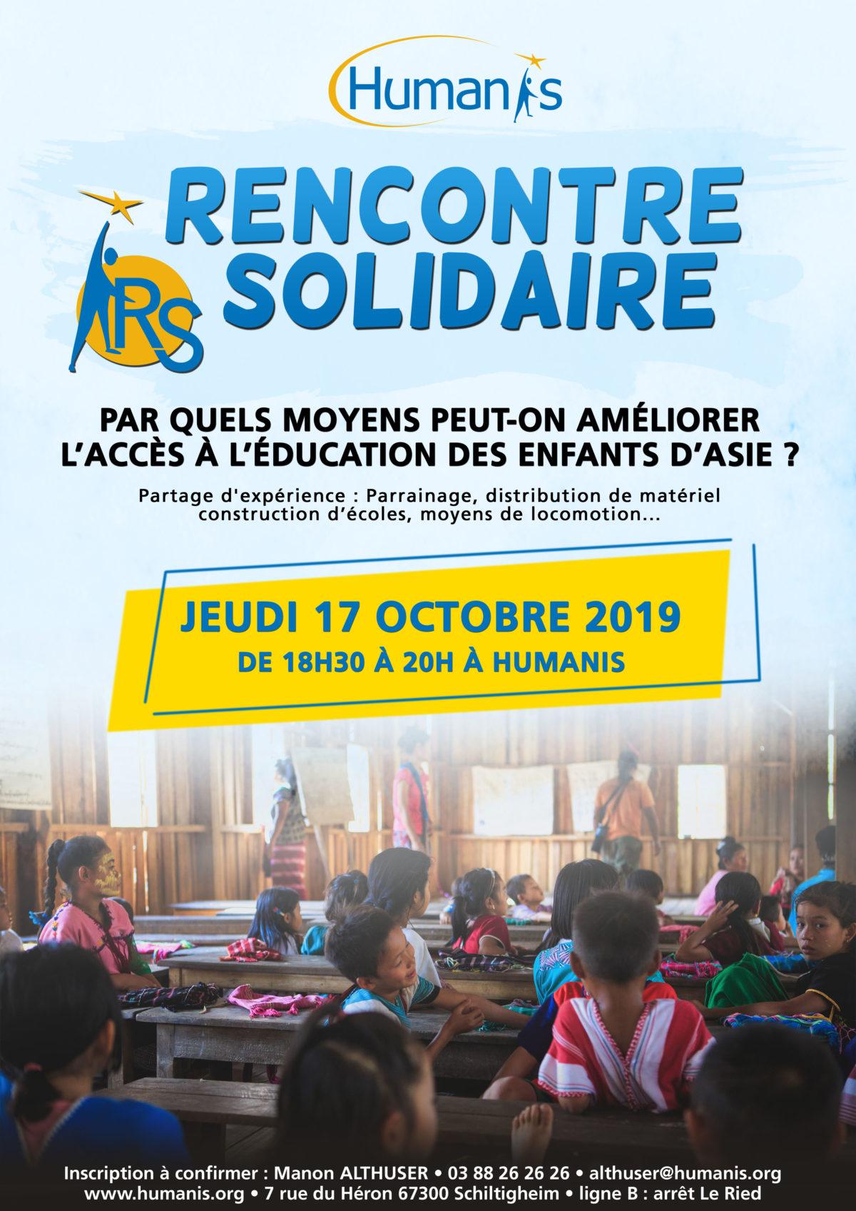 Affiche Rencontre Solidaire octobre 2019